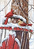 Dimensions Needlecrafts Counted Cross Stitch, Cardinals On Sled