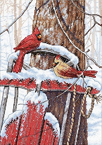 Dimensions Counted Cross Stitch Kit 'Cardinals on Winter Sled', 14 Count White Aida, 10