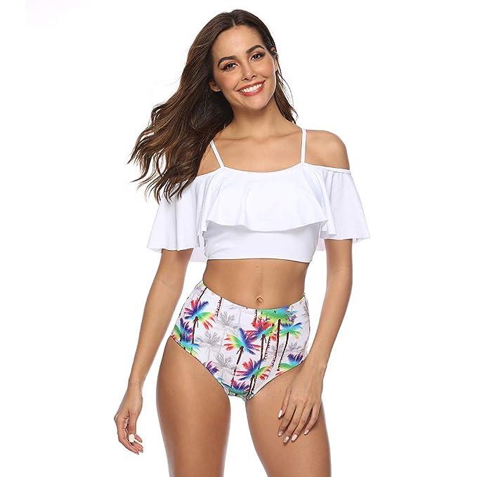 Conjunto de Bikini de Mujer,MISSWongg de impresión Totem Empuja hacia Arriba Atractivo de baño