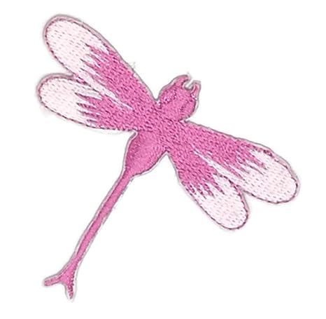 Pequeño tamaño de libélula rosa dibujos bordados para coser, planchar sobre bordado, para manualidades