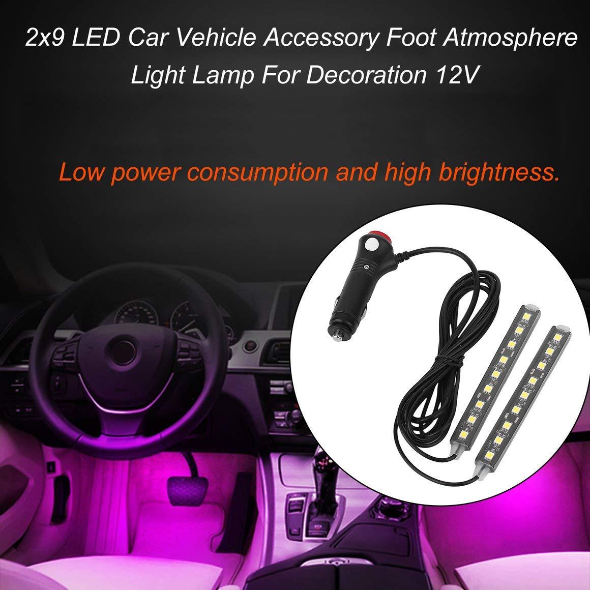 luz blanca Funnyrunstore 2x9 LED 12V Car Styling Interior Dash Piso Pie Decoraci/ón Luz L/ámpara Cigarrillo LED Atm/ósfera Luces Decoraci/ón L/ámpara