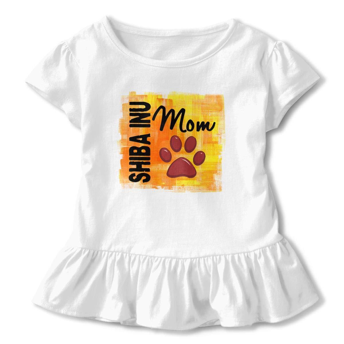 CZnuen Shiba Inu Mom 2-6T Baby Girls Cotton Jersey Short Sleeve Ruffle Tee