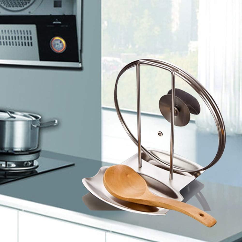 OPSLEA Soporte Multifuncional de Acero Inoxidable para Utensilios de Cocina Soportes para ollas Tapa de la Tapa Estante Soporte para Cuchara de Sopa