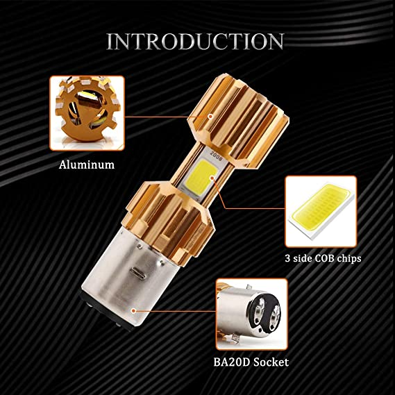 BA20D 10V-80V 12W COB LED Scheinwerfer Hi//Lo Lampen für Motorrad DHL