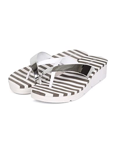 Amazon.com | Nature Breeze Women PVC Metallic Slip On Low Wedge Toe Ring Flip Flop ED45 - White | Sandals