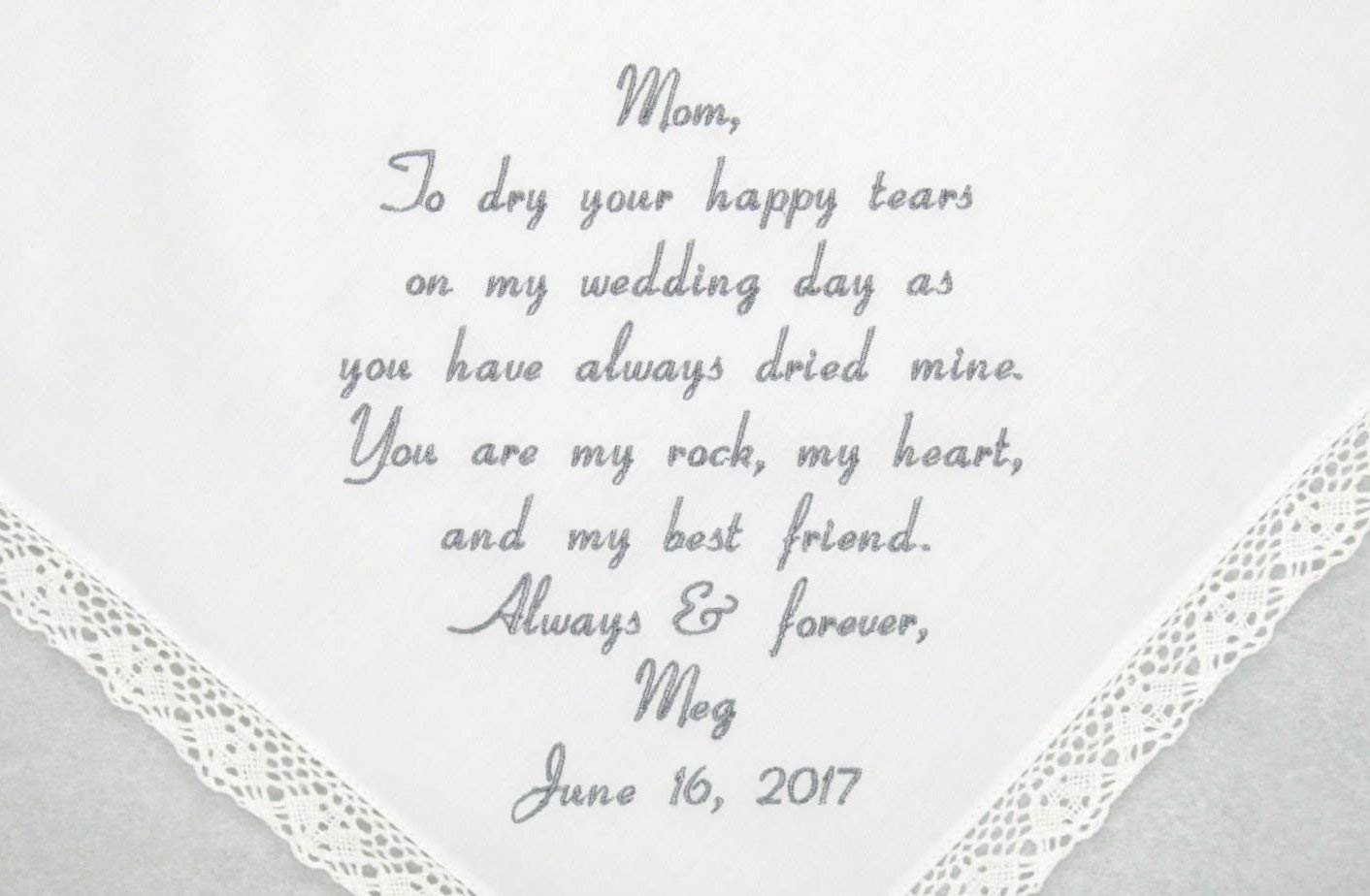 custom hankerchief for mother embroidered thank you wedding keepsake gift Mother Wedding Handkerchief Wedding gift for Mom from bride