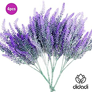 DiDaDi 4 Pcs Artificial Flowers Flocked Lavender Bouquet Romantic Fake Lavender Bunch in Purple Artificial Plant for Home Wedding Garden Decor 2