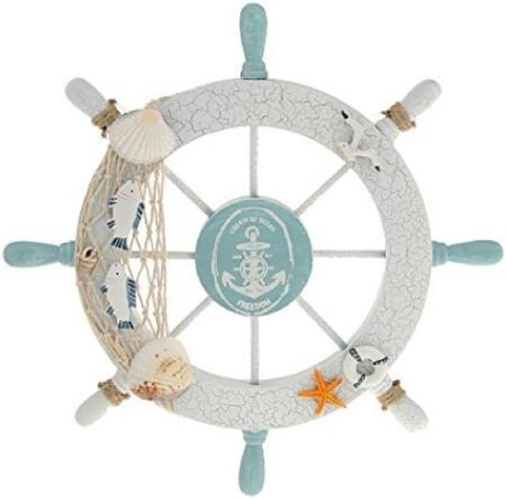 Wendin Nautical Beach Wooden Boat Ship Steering Wheel Fishing Net Shell Home Wall Decor White - Fish