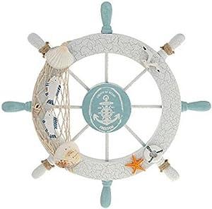 Wendin Nautical Beach Wooden Boat Ship Steering Wheel Fishing Net Shell Home Wall Decor White - Fish