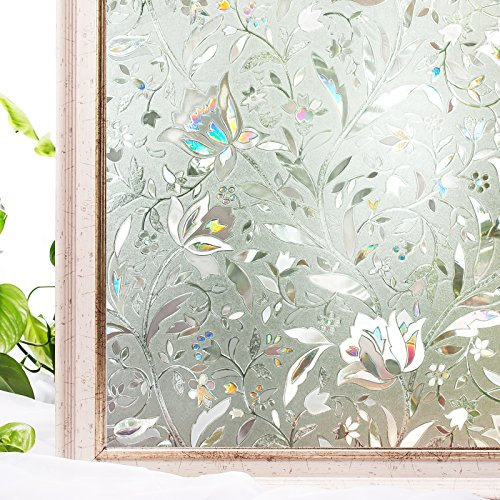 Window Film 17.7x78.7 Inches 3D Static Privacy Decoration Self Adhesive For UV Blocking Heat Control Glass Stickers