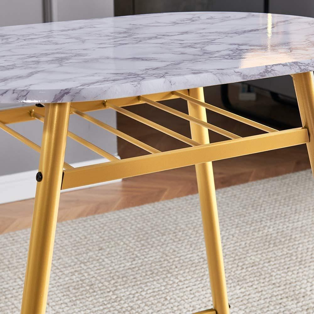 HCJZWJ 3 små matbord set för inomhus- och utomhusbruk, massivt trä kök matbord K bord med 2 matsalsstolar, för tetid i vardagsrummet trädgården bakgård, med metallben, guld Guld