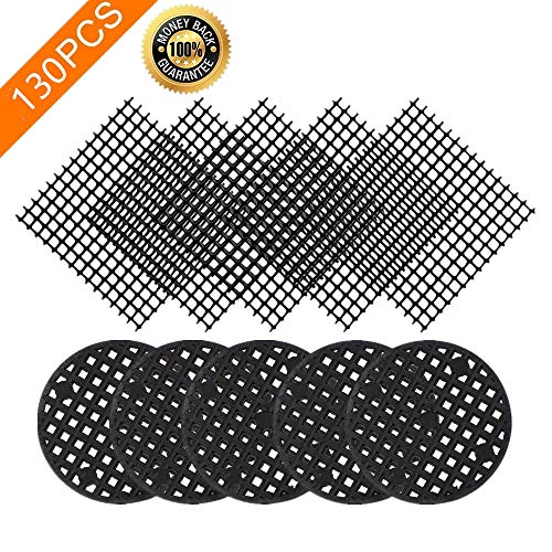 130PCS Premium Flower Pot Hole Mesh Pad, 100PCS 1.8'' Round Bonsai Pot Bottom Grid Mat Mesh, 30PSC 2x2 Inch Squares Garden's Drainage Mesh Hole Screens Prevent Soil Loss -