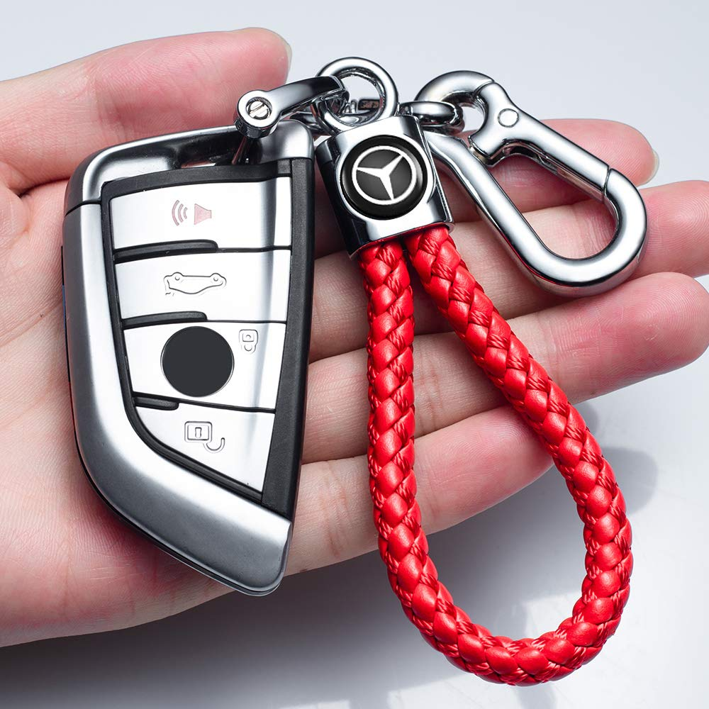 JIYUE Genuine Leather Car Logo Keychain Key Chain Keyring Family Present for Man and Woman Suit for Mercedes-Benz A C E S Class Series,GLK CLA GLA GLC GLE CLS SLK AMG Series(1pcs)