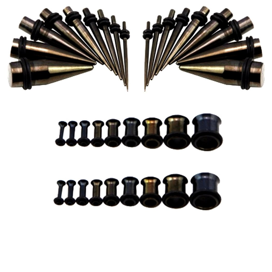16g-00g Black Surgical Steel Ear Stretching Kit Tunnels and Tapers Plus Instructions by Zaya Body Jewelry