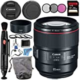 Canon EF 85mm f/1.4L IS USM Lens 2271C002 + 77mm 3 Piece Filter Kit + 77mm Macro Close Up Kit + 256GB SDXC Card + Lens Cap Keeper + Lens Pen Cleaner + Deluxe Starter Kit + MicroFiber Cloth Bundle