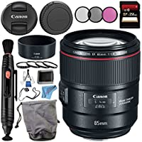 Canon EF 85mm f/1.4L IS USM Lens 2271C002 + 77mm 3 Piece Filter Kit + 77mm Macro Close Up Kit + 256GB SDXC Card + Lens Cap Keeper + Lens Pen Cleaner + Deluxe Starter Kit + MicroFiber Cloth Bundle