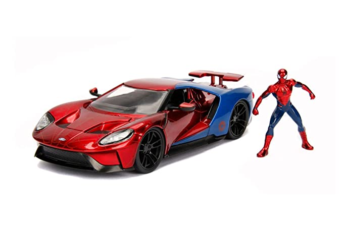 Amazon Com Jada  W B Metals Marvel Spider Man  Ford Gt Red Blue Toys Games