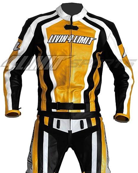 4LIMIT Sports 200100000502 Traje para Moto de Cuero, Amarillo/Negro/Blanco, XS