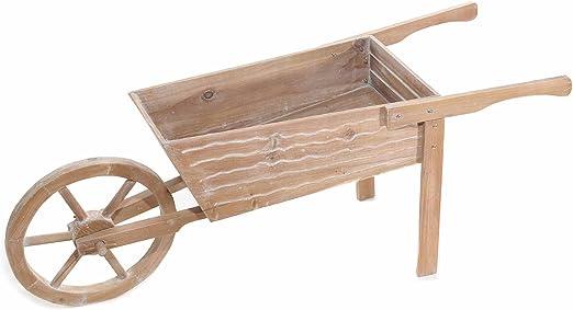 Carretilla de madera a tamaño natural decoración para jardín casa y tiendas: Amazon.es: Jardín