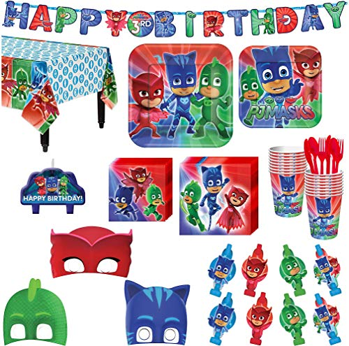 (PJ Masks Birthday Party Kit, Includes Happy Birthday Banner, Candles and Eye Masks, Serves 16, by Party)