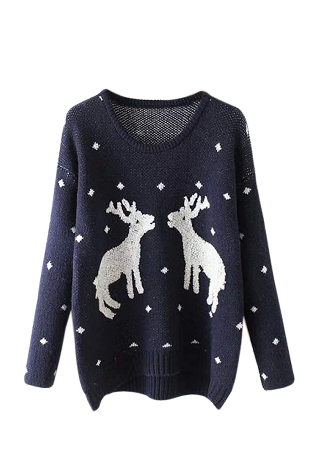 Simgahuva Women Ugly Christmas Sweater Reindeer Long Sleeve Knitted Pullover CASmWM1078-Darkgray-F