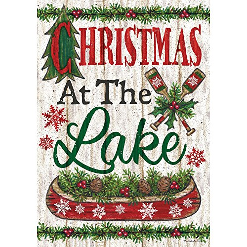 Lake Christmas – STANDARD Size, 28 Inch X 40 Inch, Decorative Double Sided Flag MADE IN USA, Copyright ,Trademark and License by Custom Décor Inc. For Sale