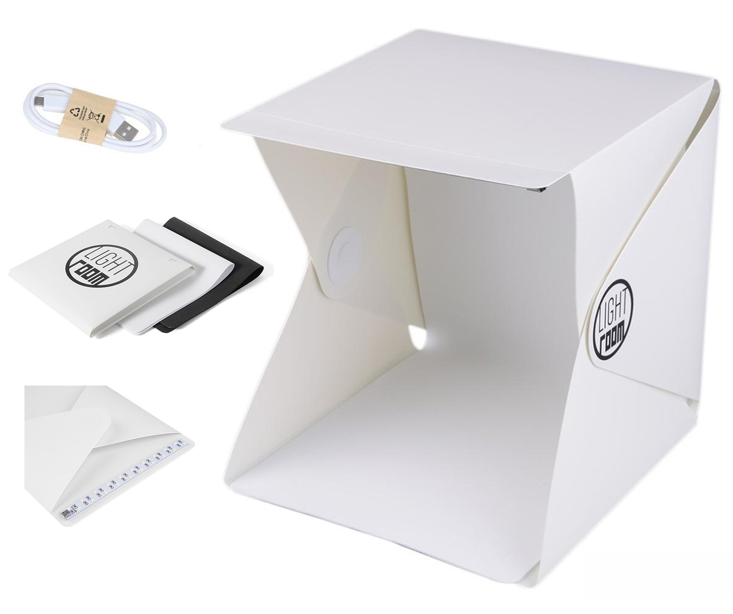Portable Lightbox Photography Studio for Small Size Items Studio Light Box Kit with LED Lights and Two Blackground, Folding Light Tent for Easy Assemble.