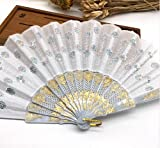 White Home Decoration Crafts Vintage Retro Peacock Folding Fan Hand Plastic Lace Dance Fans