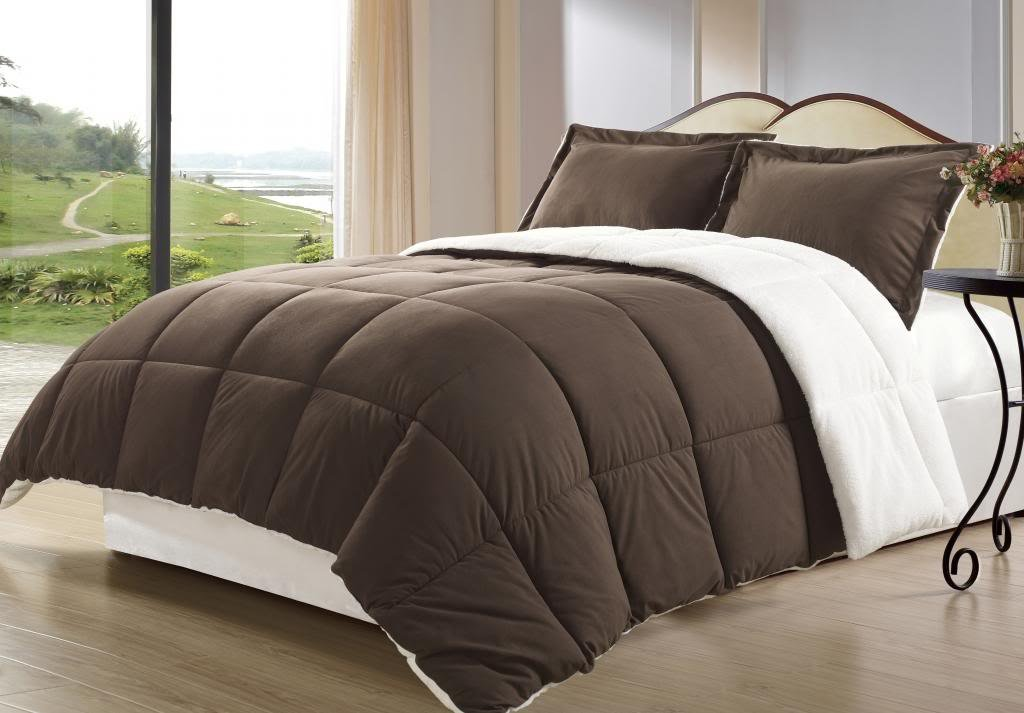 "Cozy Beddings Borrego Twin Size 2 Piece Brown Color Down Alternative Comforter Set/Blanket with Pillow Shams, Sherpa and Berber Fabric Bed Cover - 1-Comforter TWIN Size 88"" x 64"" 1-Pillow Sham 20"" x 28"" + 2"" Filling: 100% polyester, Fabric: Sherpa - comforter-sets, bedroom-sheets-comforters, bedroom - 61cA6H2IucL -"