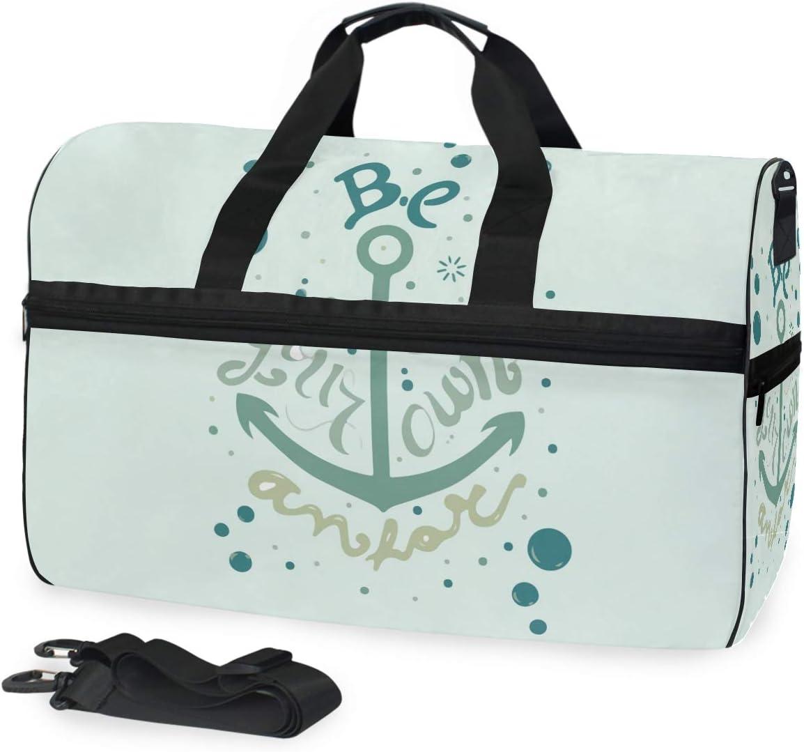 FAJRO Duffle Bag for Women Men Aqua Anchor Travel Duffel Bag Large Size Water-proof Tear Resistant