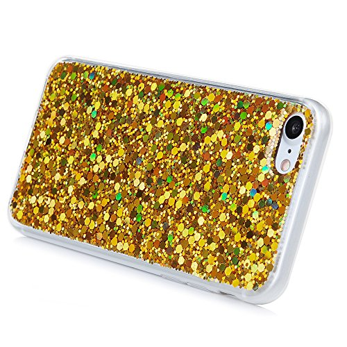 Mavis's Diary Coque iPhone 7 TPU Souple Bling Jaune Housse de Protection Étui Téléphone Portable Phone Case Cover+Chiffon