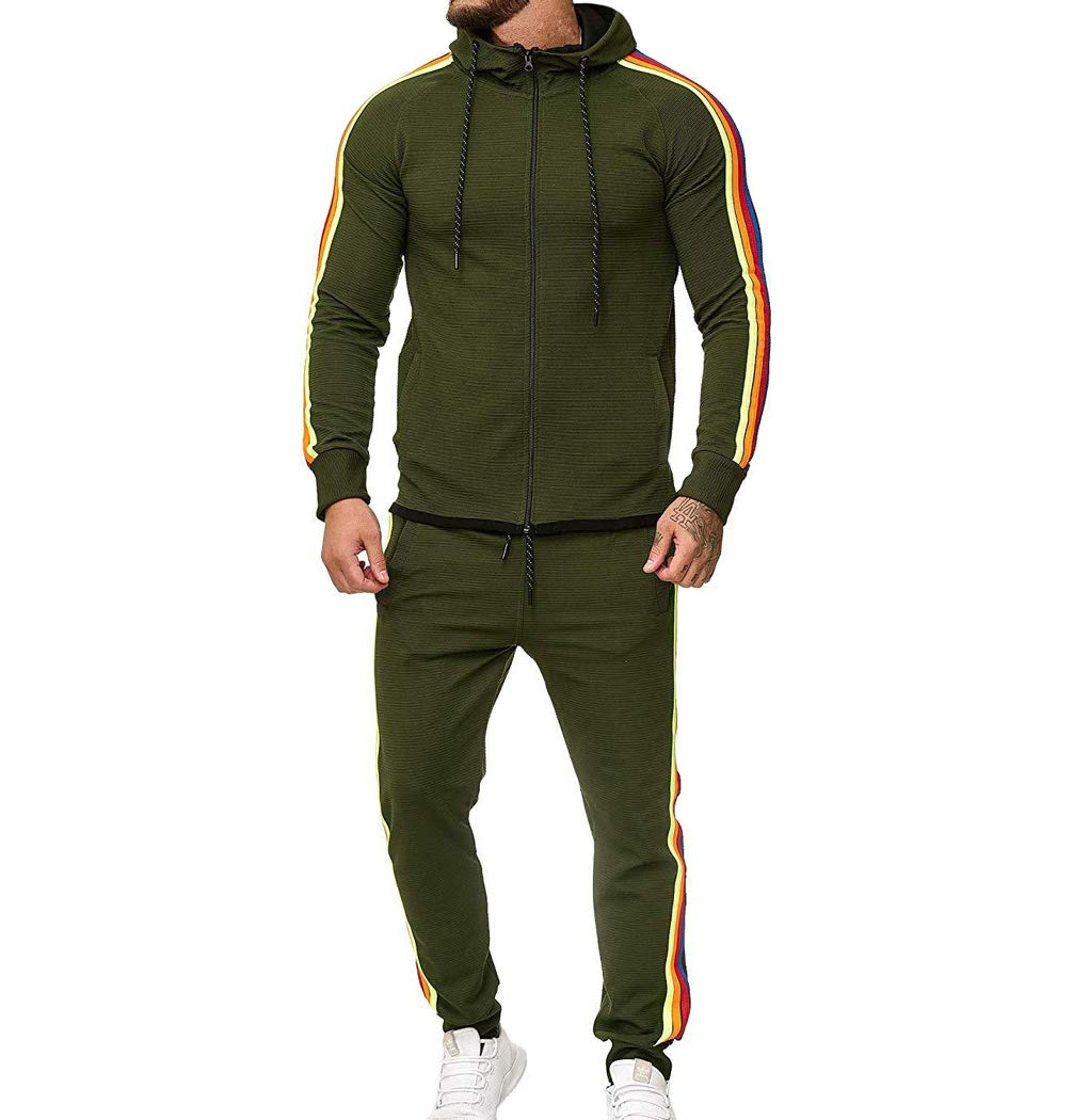 Men's Tracksuit Set Camouflage Sweatshirt Jogger Sweatpants Solid Patchwork Warm Sports Suit (Rainbow-Green, L) by lisenraIn