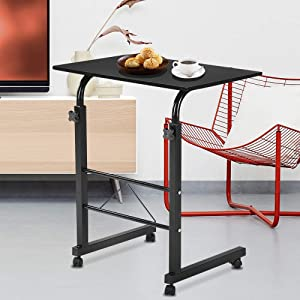 SSLine Magazine Snack Table on Wheels, Lifting Laptop Computer Desk Movable C-Shaped Overbed TV Tray Mobile Sofa Chair Side End Table for Living Room Bedroom(23.6 L x 15.7 W)