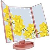 WEILY 卓上三面鏡 LED化粧鏡 電池交換可能 2倍&3倍拡大鏡付き 角度自由調整 明るさ調整可能 折り畳み式 LEDライト21個 全3色 スタンド ミラー (ローズゴールド)