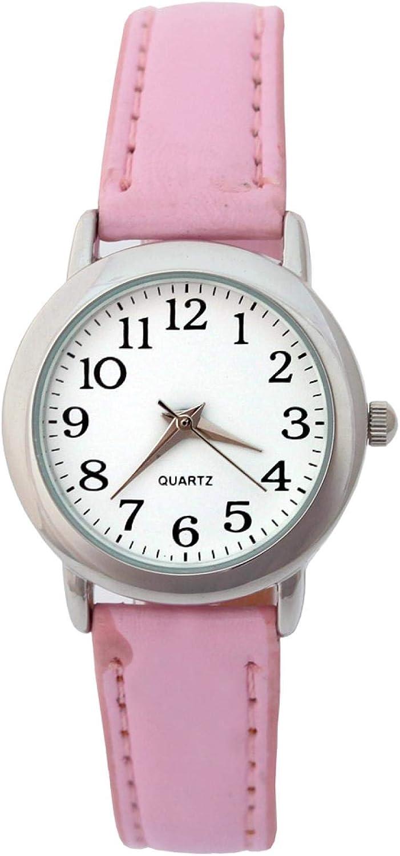 SFBBBO Reloj niño Reloj Mujer Moda Lujo Cuero Correa niños niño niña Dama Reloj Cuarzo Redondo Unisex Deporte Reloj de Pulsera Lightpink
