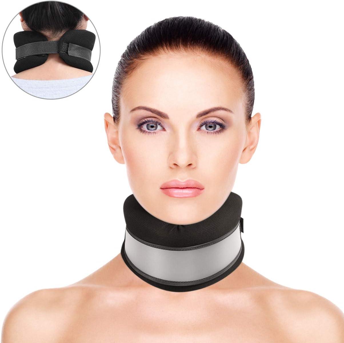 Healifty Cuello Ortopédico - Collarín Cervical Blando Ortopedico - para Dormir y Sedentario - Soporte para el Cuello, Alivio del Dolor y la Presión en la Columna Vertebral (Negro)