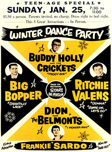 Buddy Holly - Big Bopper - Ritchie Valens 1959 Winter Dance Party Concert Poster