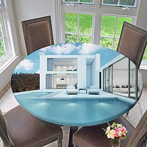 PINAFORE HOME Round Premium Tablecloth House with Pool Design Minimal Stain Resistant 35.5