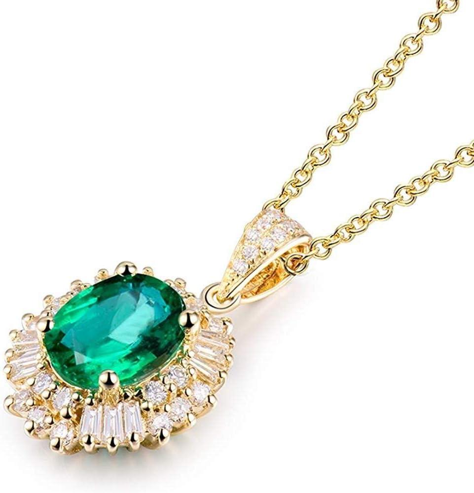 Collar de Moda para Mujer Brillante Oro de 18 KT Diamante Esmeralda Naturales Colgante de Enganche Hembra Regalo de Bodas Izar