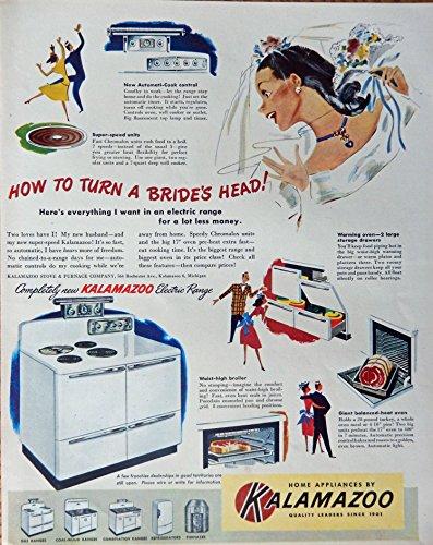 Ads Vintage Appliance (Kalamazzo Home Appliances, 40's Print ad. Color Illustration (how to turn a bride's head) Original Vintage 1948 Life Magazine Print Art)