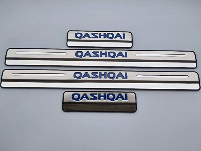 Stainless Steel,Blue HJHNB 4 Pcs Car Door Sill Protector For Nissan Qashqai 2015 2016 2017 2018 2019 Kick Plates Pedal Scuff Styling Sticker Threshold Cover Protection Trim