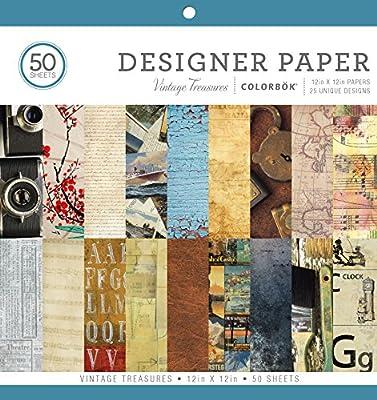 "ColorBok 68117E Designer Paper Pad Vintage Treasures, 12"" x 12"""