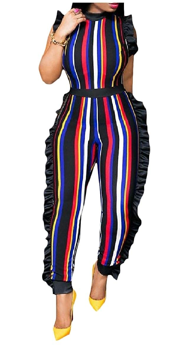 Abetteric Womens Plus Size Slim Pinstripe Splice Waveselvedge Jumpsuits