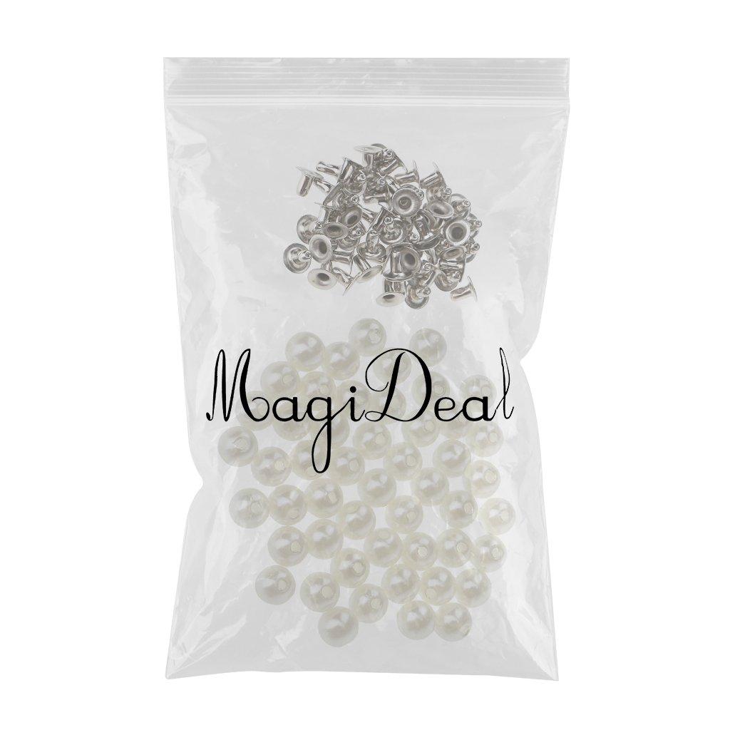 6mm MagiDeal 50 Pedazos Botones de Perlas de Imitaci/ón Remaches Clavos para Coser Artesan/ía de Cuero Bolsa