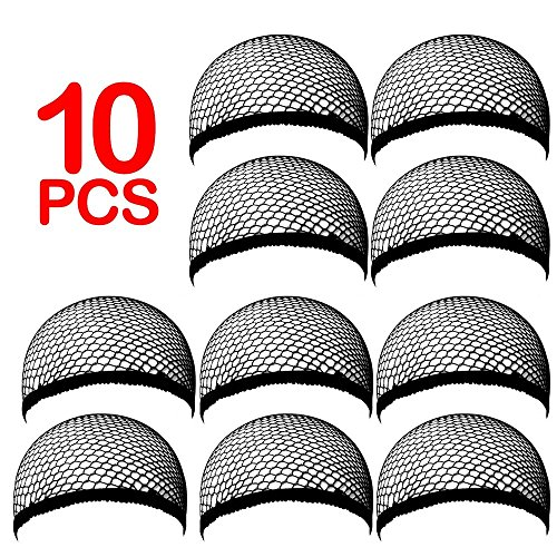 [Brendacosmetic 10 Pcs Neutral Cool Mech Wig Cap Special Convenience for Covering Wearing Wig,Comfortable Stretch Net Wig Cap DIY Wig Tool for Hair] (Beehive Costume Diy)