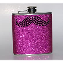 Pink & Black Sparkly Glitter Rhinestone Mustache 8 oz Stainless Steel Liquor Hip Flask Party Gift