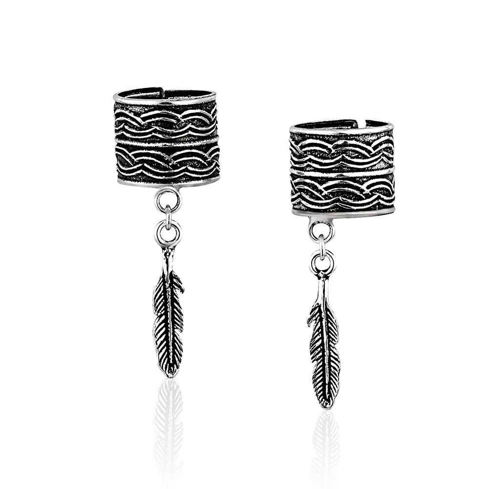 925 Sterling Silver Band & Feather Charm No Pierce Ear Cuff Wrap Earrings, Set of Two (2) 3, 28 mm by Chuvora