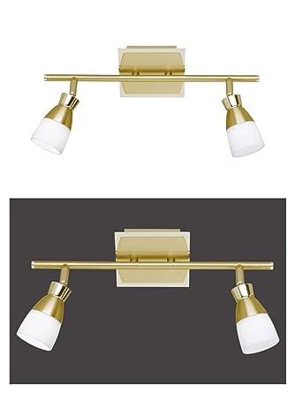 LED Deckenstrahler 2 Flammig Messing Decken Spot Deckenlampe Bewegliche Spots Strahler Flur Lampe Glas Deckenleuchte