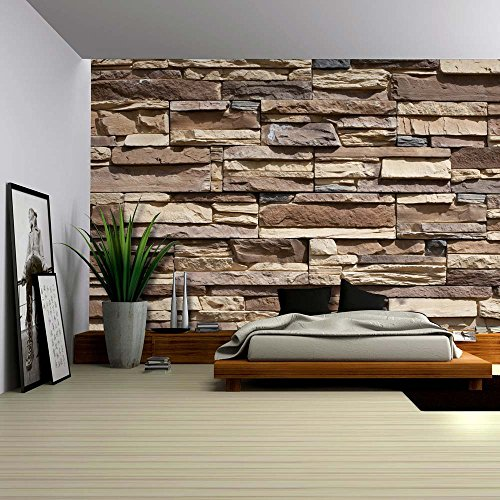 Neutral Colored Brick Pattern Wall Wall Mural Removable Wallpaper