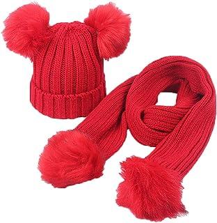 Boomly Enfant Bonnet Tricot + Echarpe avec Pom Pom Chapeau d'hiver Chaud Couleur Unie Beanie Bonnet Neck Warmer pour bébé DE 2-6 Ans 2 à 6 Ans)